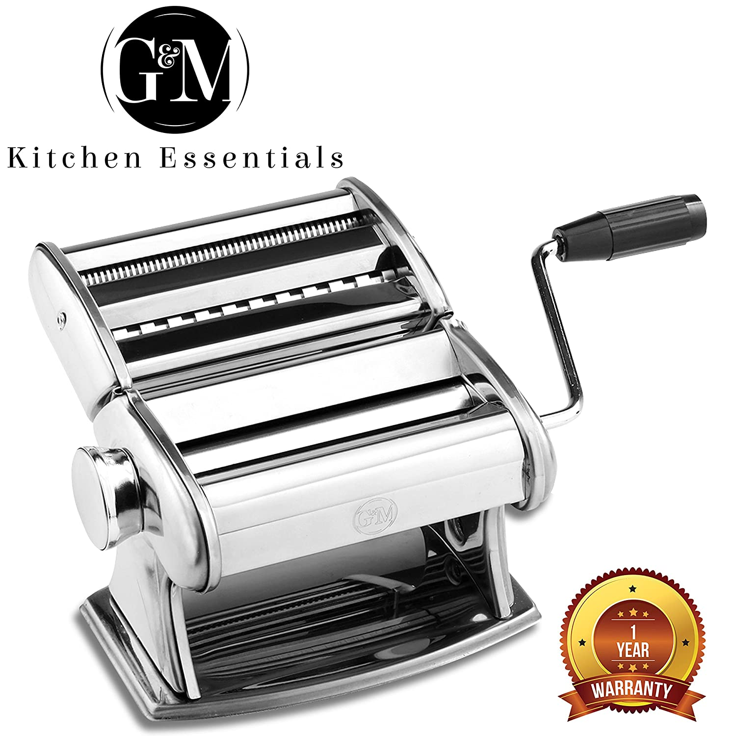 Stainless Steel Pasta Maker Set – Manual Pasta Roller with Hand Crank by G&M Kitchen Essentials COMINHKPR93247