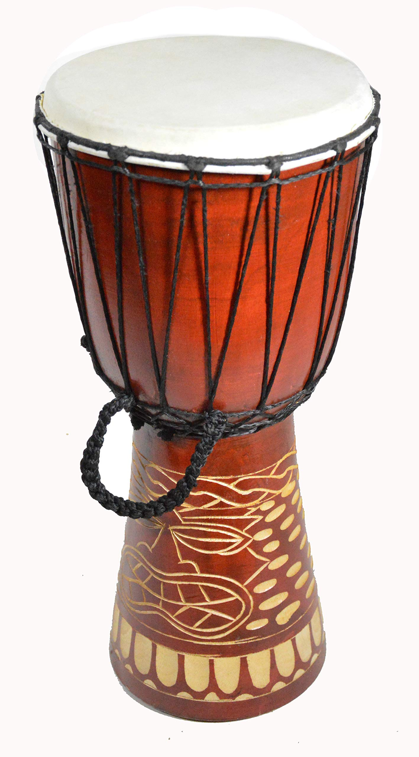 Djembe Drum Bongo Hand Carved 19'' Tall Beautifully Deep carved Tiki Totem Mask Design African Art