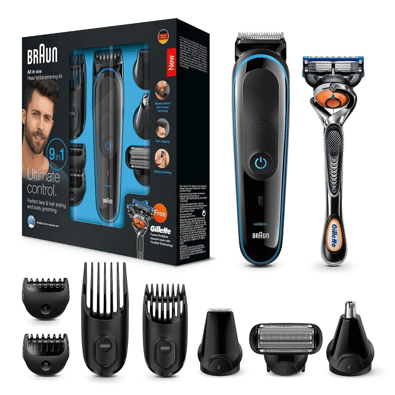 Braun Multigrooming-Set mgk3085 9-In-1 Präzisionstrimmer Für Bart- und Haarstyling, schwarz/blau