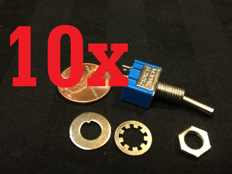 10x On-off Toggle Switch Spst Mts-101 6mm 1//4 Sub Miniature on Off 10pcs B12 HJ-7WMU-G062-CA