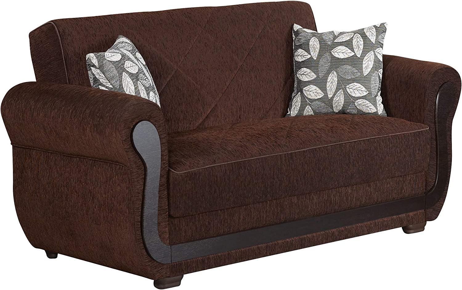 BEYAN Sunrise Collection Upholstered Convertible Storage Love Seat with Easy Access Storage Space, Includes 2 Pillows, Dark Brown
