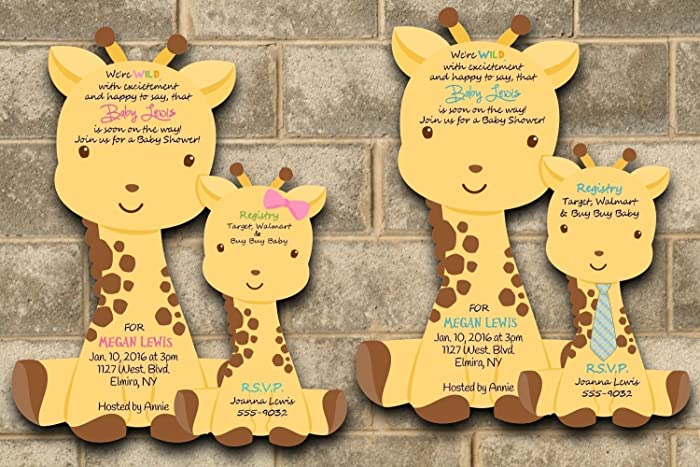 Custom Printed Giraffe Baby Shower Invitations For Baby Girl Or Baby Boy    Choose Your Quantity