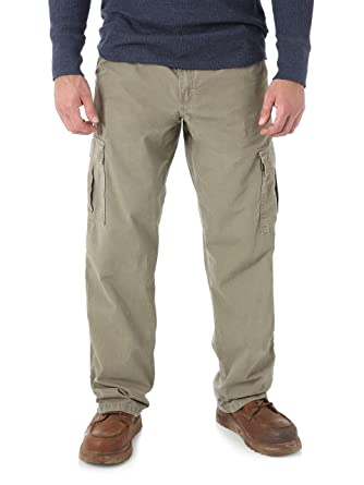 12d9f7c8 Wrangler Mens Relaxed Fit Rip-Stop Cargo Pants Jean (Barley Khaki) (30W