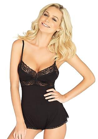 f7c334d79 Amazon.com: Leg Avenue Women's Lace Trimmed Rushed Jersey Romper ...