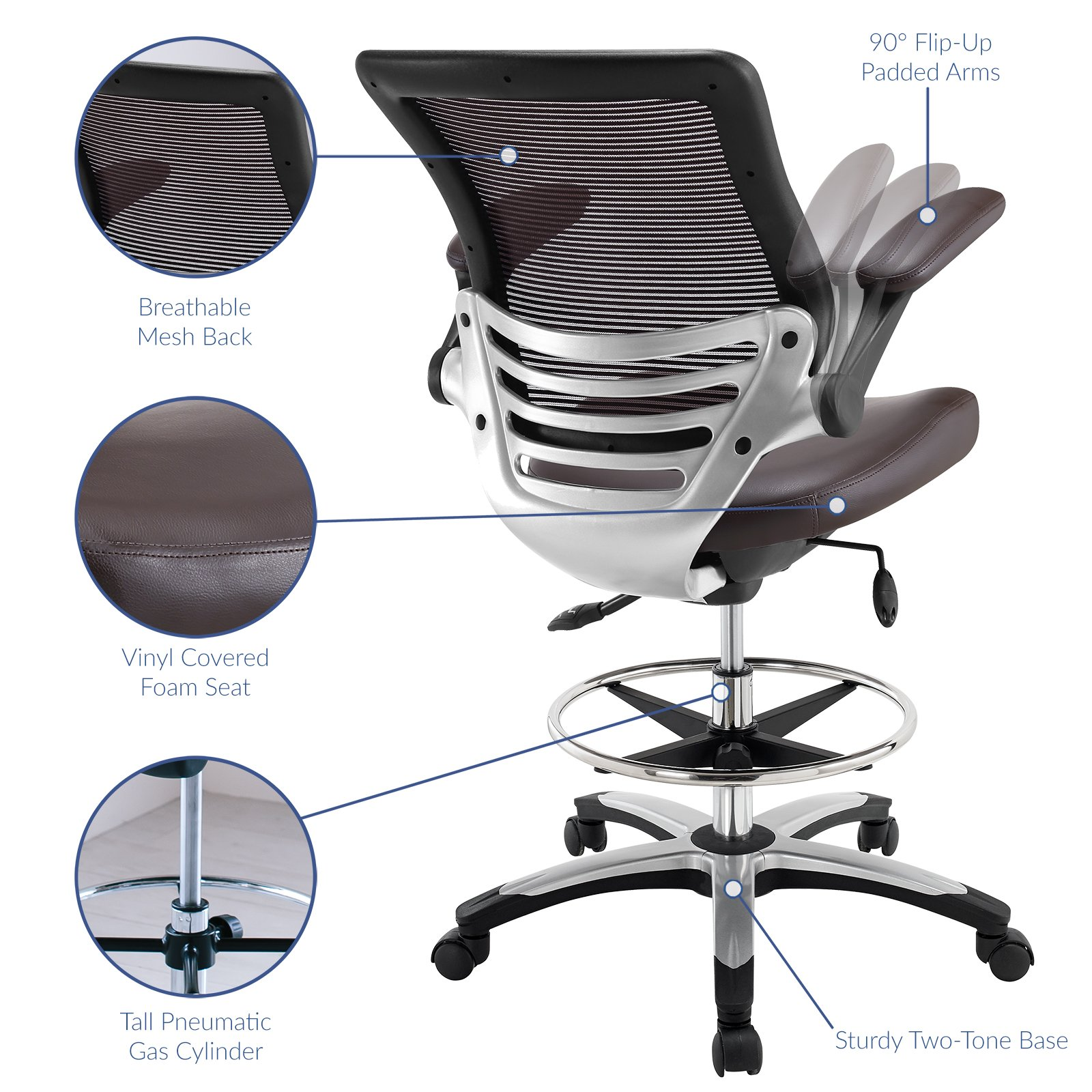 Modway Edge Drafting Chair In Brown - Reception Desk Chair - Tall Office Chair For Adjustable Standing Desks - Flip-Up Arm Drafting Table Chair by Modway (Image #3)