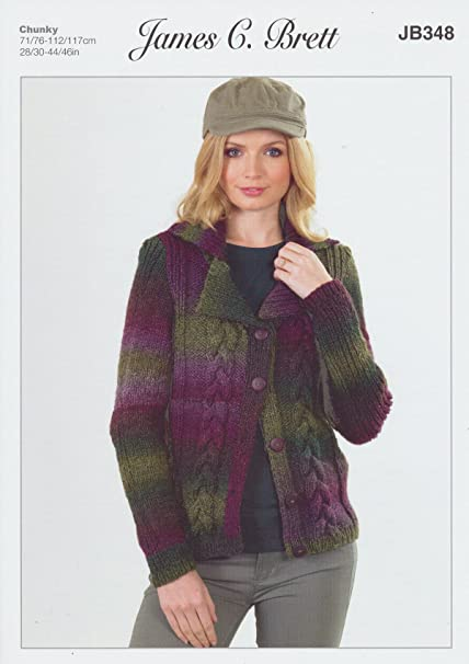 275ba8452bcd2 James Brett Womens Knitting Pattern Ladies Lakeland Chunky Cable Knit Long  Sleeved Jacket (JB348)  Amazon.co.uk  Kitchen   Home