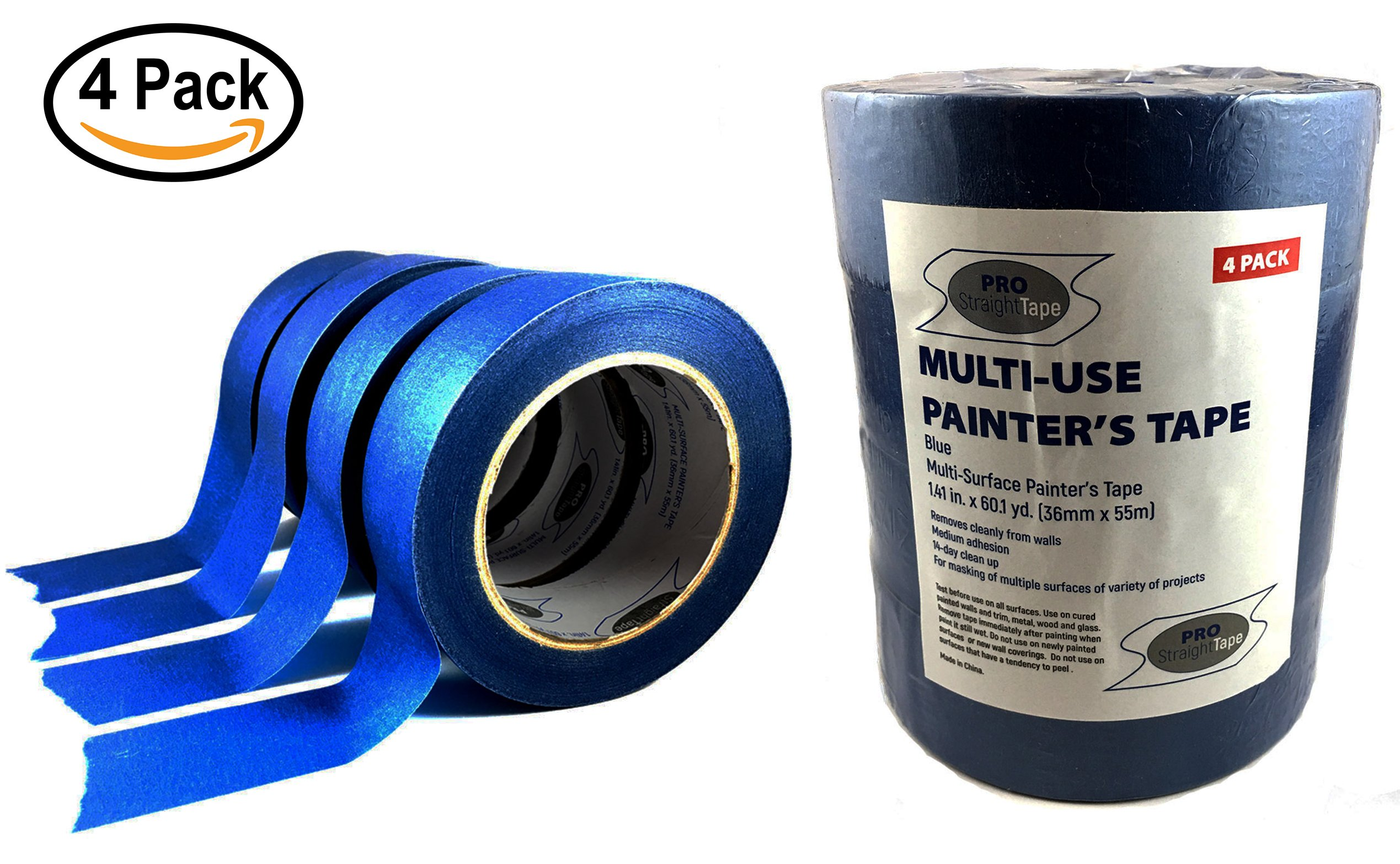 Masking Tape - 4 Rolls of Blue Professional Painters Tape - Multi Purpose, Easy Removal 1.5'' x 180'(1.41'' x 60.1yds) by PRO STRAIGHT TAPE - Perfect for clean masking of trim and various surfaces