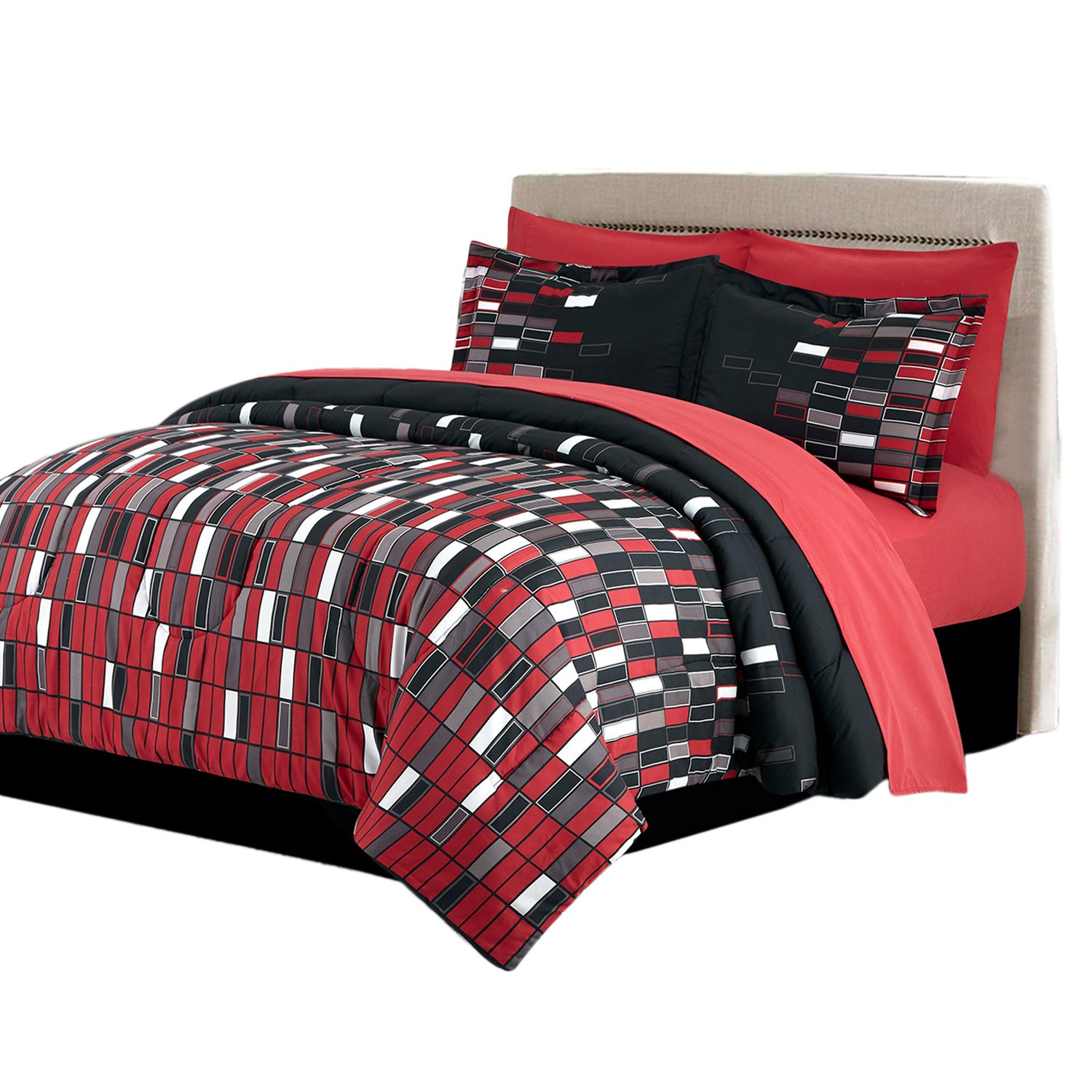 HollyHOME Red Check 6-Piece Bed in Bag Comforter Set, Twin