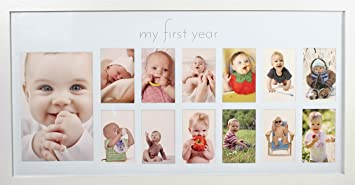 Babys First Year Frame In Elegant White Natural Wood My First Year Baby Picture Frame For Photo