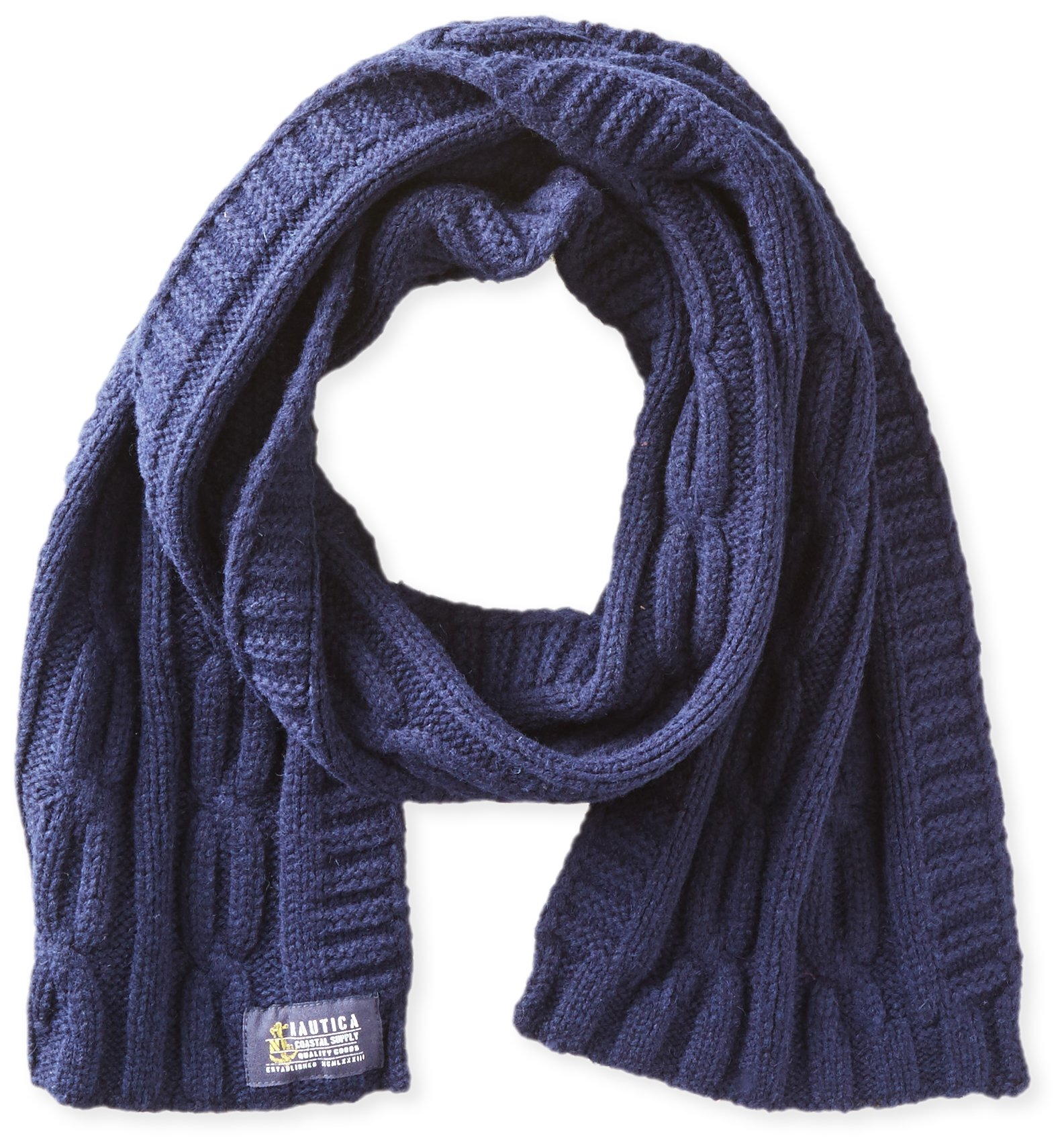 Nautica Men's Solid Cable Scarf, Peacoat, One Size
