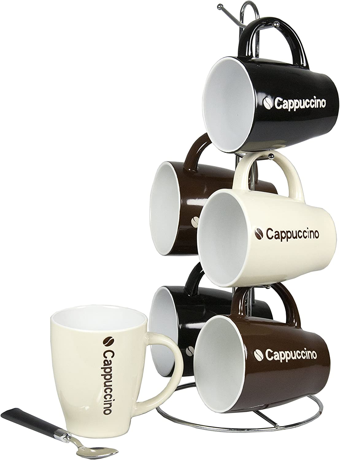 Home Basics 6-Piece Mug with Stand, Cappuccino