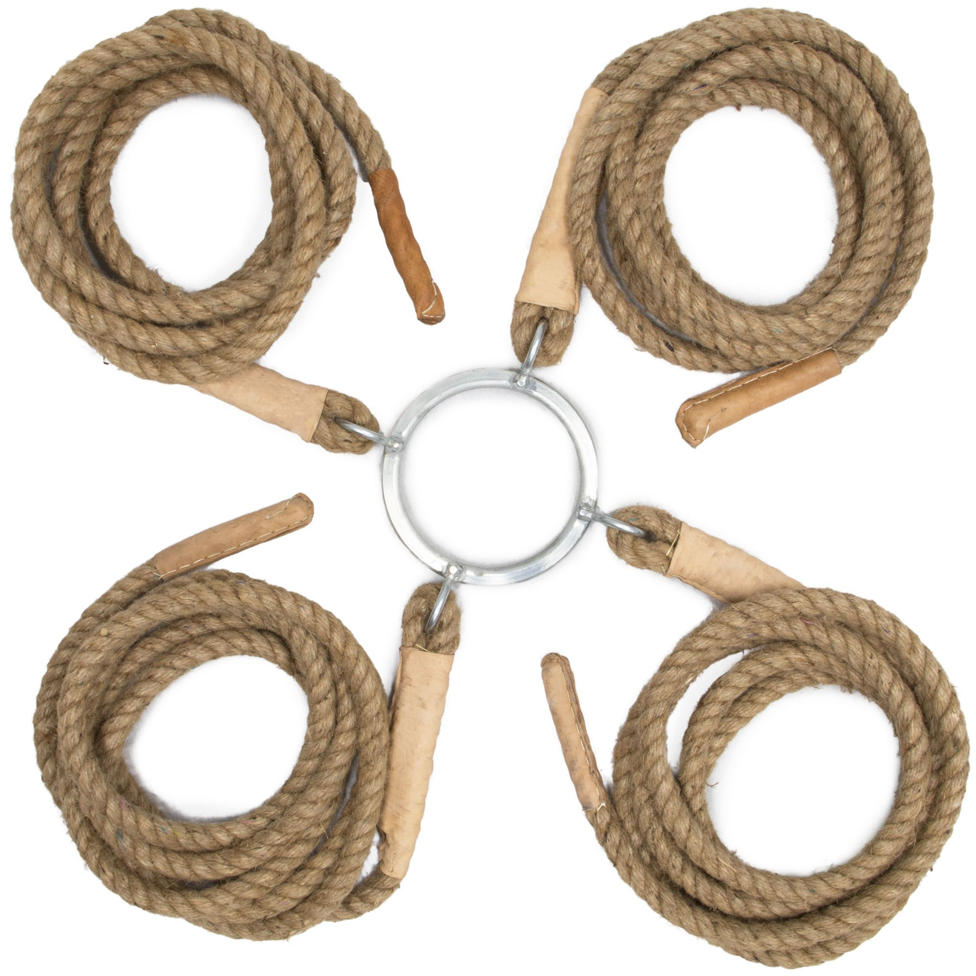 4-Way Tug of War Ropes: Four 5m Jute Twine Ropes with Steel Ring for 30 Players by Crown Sporting Goods