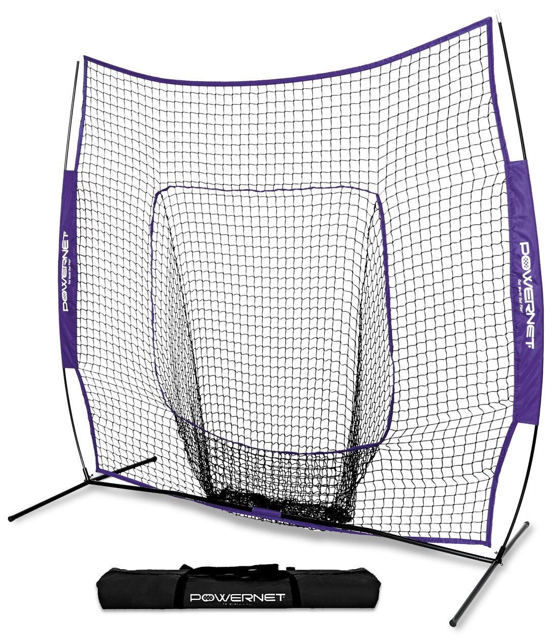 PowerNet Team Color Baseball Softball 7x7 Hitting Net w/Bow Frame (Purple) by PowerNet