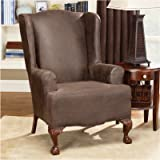 Sure Fit Stretch Leather  - Wing Chair Slipcover  - Brown (SF37324)