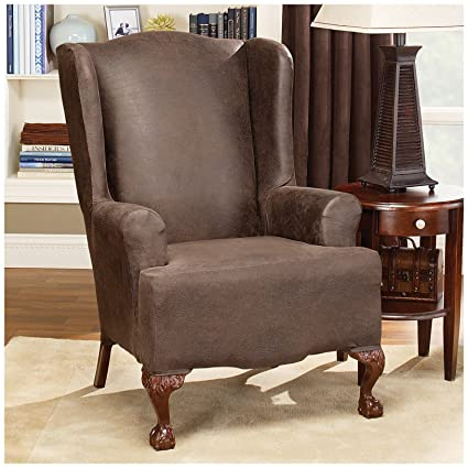 Magnificent Buy Surefit Stretch Faux Leather Wing Chair Slipcover Brown Short Links Chair Design For Home Short Linksinfo