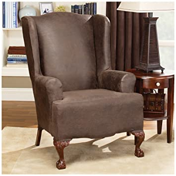 Ordinaire Sure Fit Stretch Faux Leather   Wing Chair Slipcover, Brown (SF37324)