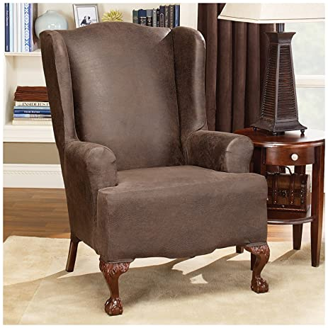 Amazoncom Sure Fit Stretch Faux Leather Wing Chair Slipcover