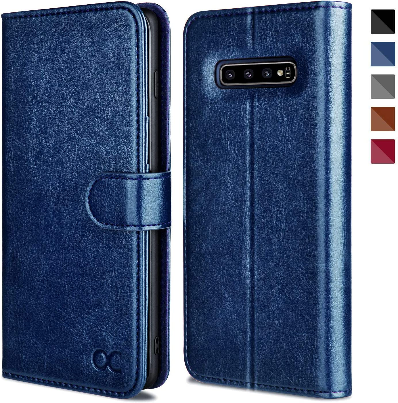 OCASE Samsung Galaxy S10 Plus / S10+ Case [ Card Slot ] [ Kickstand ] [TPU Shockproof Interior ] Leather Flip Wallet Case for Samsung Galaxy S10 Plus / S10+ Devices (Blue)