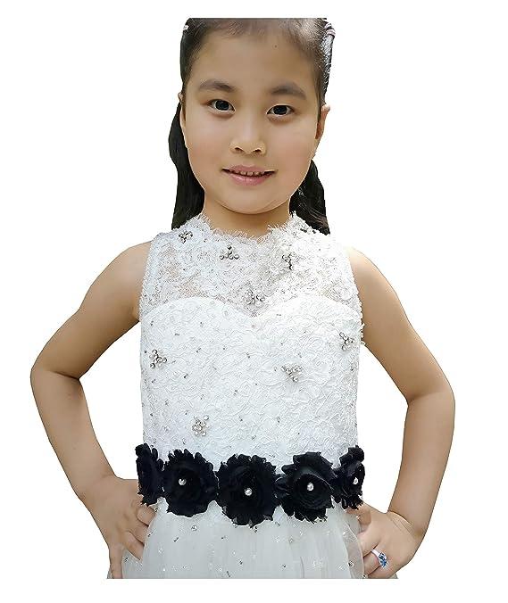 b727346a6 Amazon.com: Vintage Chiffon Flower and Pearls Flowergirls Sash for Pageant  Prom Wedding BB8 (black): Clothing
