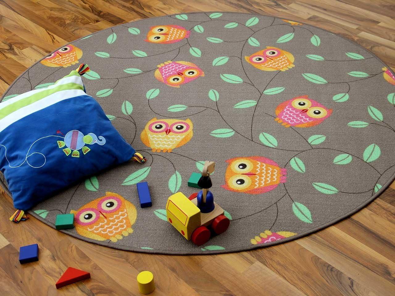 Kinder Spielteppich Eule Taupe Beige Karamell Rund in 7 Gr/ö/ßen