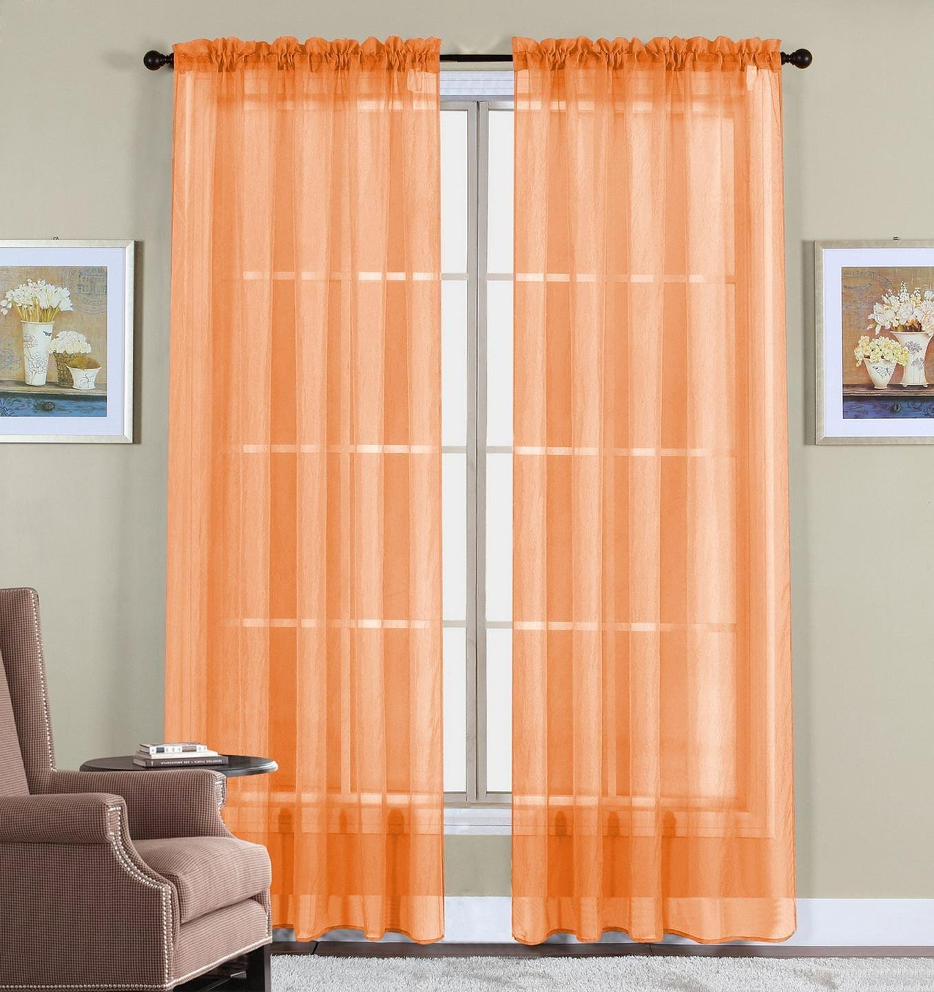 Orange WPM 2 Piece Beautiful Sheer Window Elegance Curtains