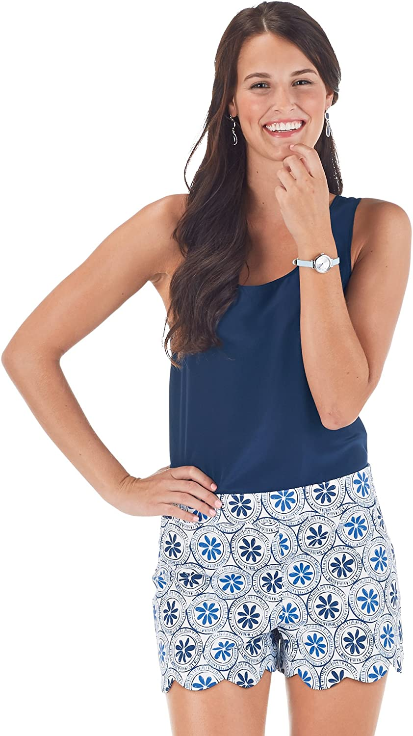 Mud Pie Scalloped Blue Shorts, Size Small, NWT
