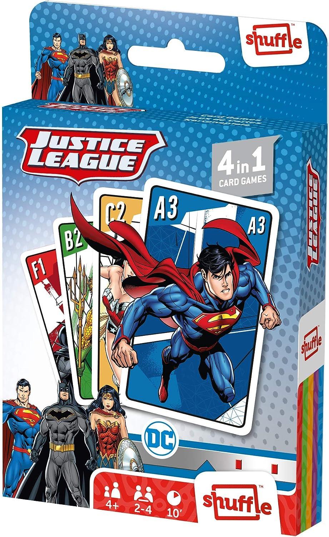 Juego de Cartas Shuffle Fun La Liga de la Justicia 4 en 1 - Baraja de Cartas con 4 Juegos de Snap, Familias, Parejas y Juego de Acción: Amazon.es: Juguetes y juegos