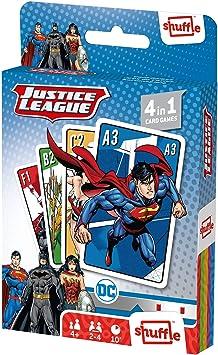 Oferta amazon: Juego de Cartas Shuffle Fun La Liga de la Justicia 4 en 1 - Baraja de Cartas con 4 Juegos de Snap, Familias, Parejas y Juego de Acción