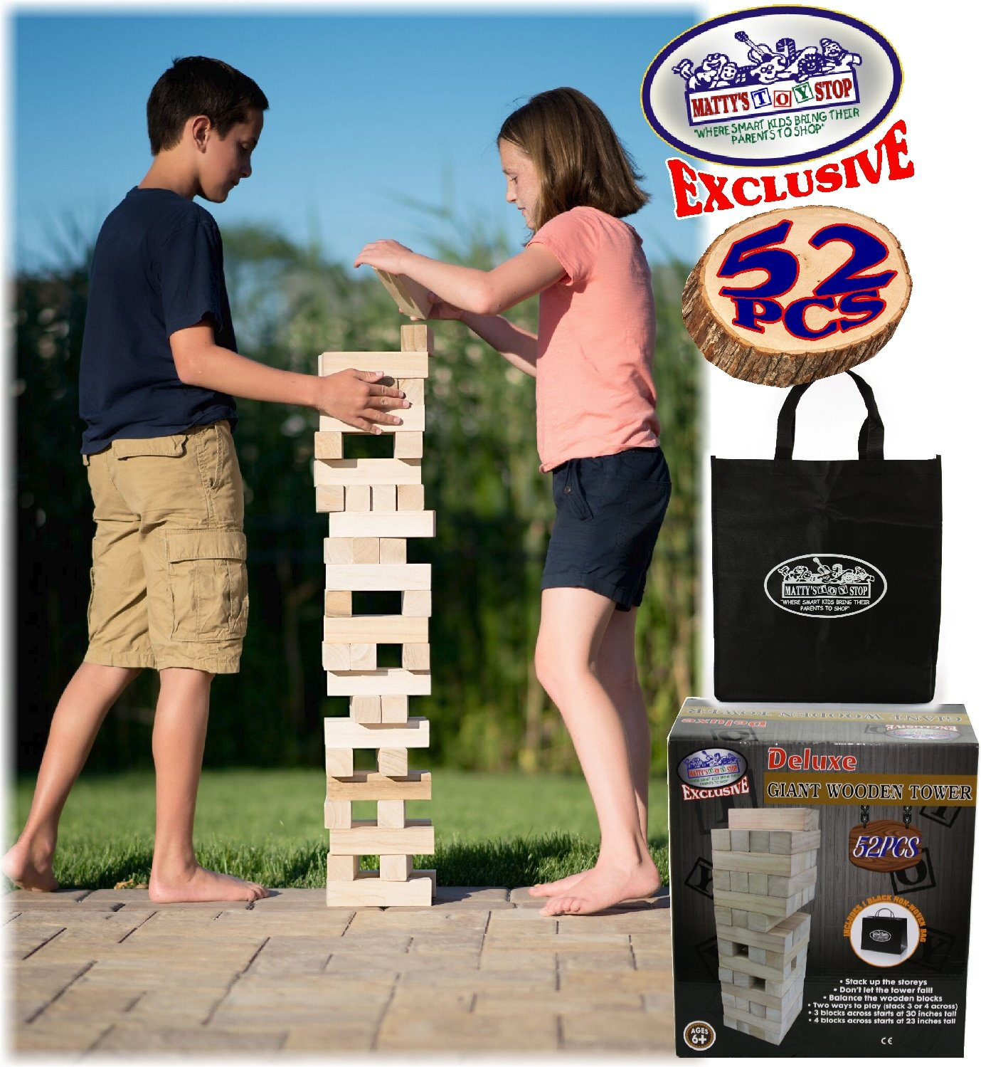 Matty's Toy Stop Giant Wooden Tower Deluxe Stacking Game with Storage Bag (52 Pieces) 2 Ways to Play (Starts at 23'' or 30'')
