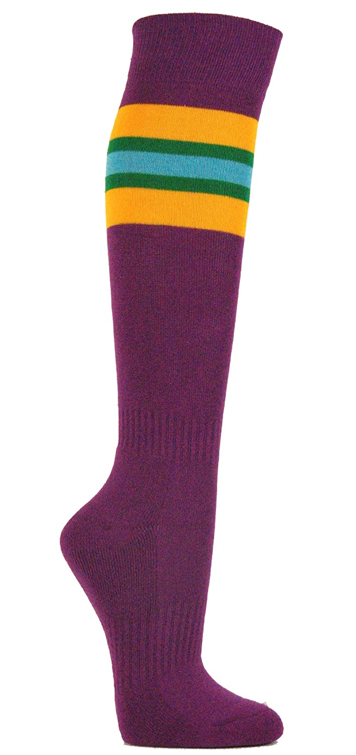 Couver Women's Purple Striped Knee High Sports/Softball / Athletic/Baseball Socks Medium