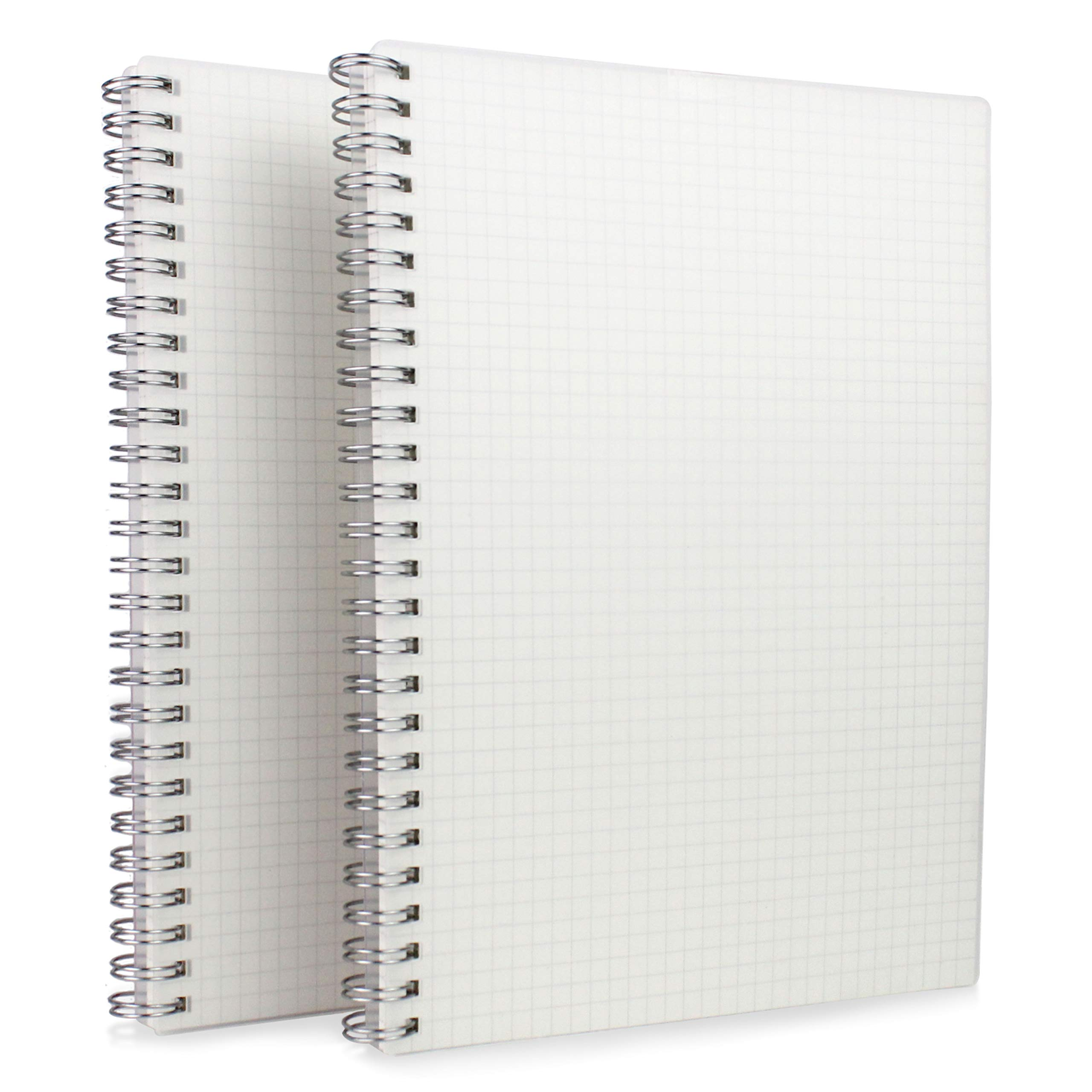 HULYTRAAT Graph Ruled Wirebound Spiral Notebook, 6.7 x 8.9 Inch, Sturdy See-Through Cover Journal, Premium 100gsm Ivory White Acid-Free Paper, 128 Squared/Grid Pages per Book (Pack of 2)