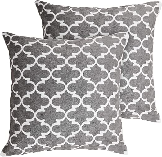 Deconovo Set of 2 100% Cotton Cushion Covers Embroidered
