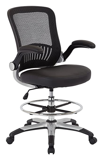 office star breathable mesh back and padded faux leather seat