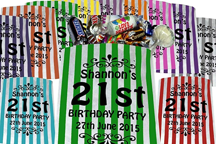 eba19f32 Personalised Birthday Sweet Bags Birthday Party Bags - Printed Candy Stripe  Bags: Amazon.co.uk: Handmade