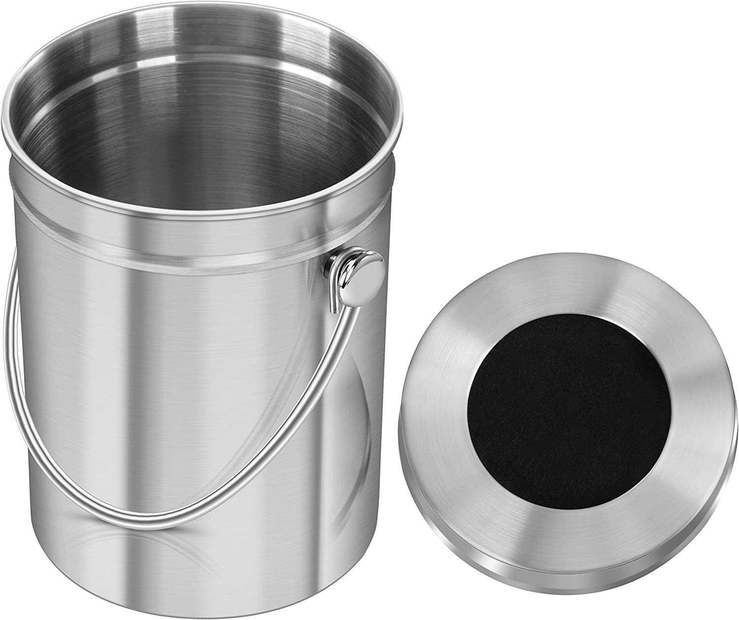 Utopia Kitchen Stainless Steel Compost Bin for Kitchen Countertop - 1.3 Gallon Compost Bucket for Kitchen with Lid - Includes 1 Spare Charcoal Filter: Kitchen & Dining
