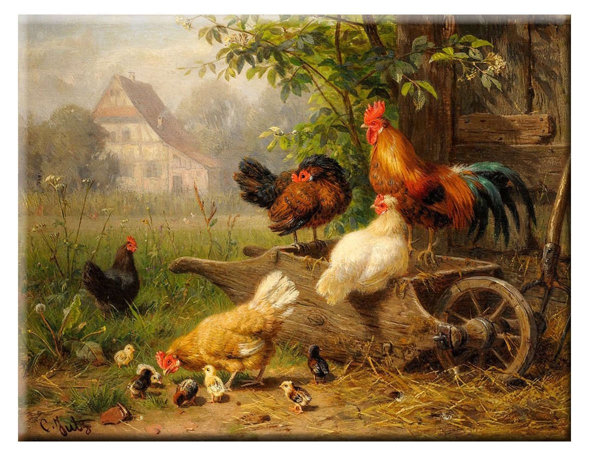 ArtWorks Decor Chicken on Wheelbarrow Picture on Stretched Canvas, Wall Art Decor, Ready to Hang