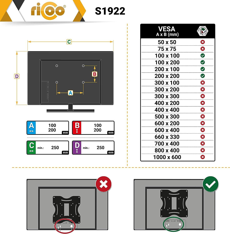 RICOO S1922, Soporte TV Pared, Giratorio, Inclinable, Televisión 27-42