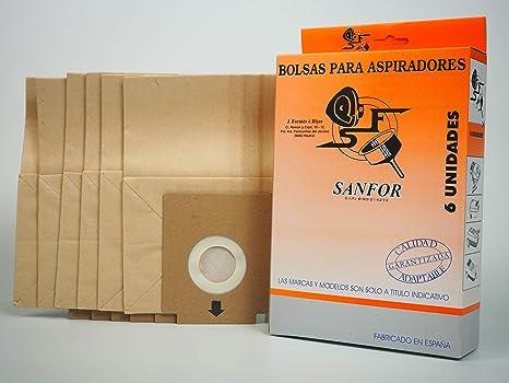 Sanfor 64066 Caja Bolsa aspirador SOLAC R-SO901 6 unidades, Papel, MARRÓN: Amazon.es: Hogar
