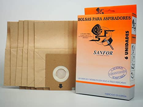 Sanfor 64066 Caja Bolsa aspirador SOLAC R-SO901 6 unidades, Papel, MARRÓN