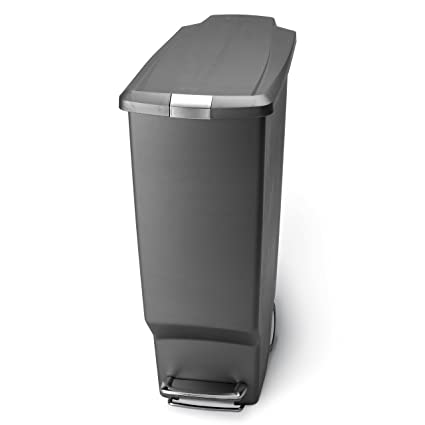 Amazon.com: simplehuman 40-Liter Slim Plastic Step Can, Grey: Home ...