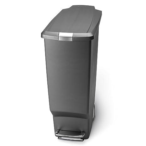 Amazon Com Simplehuman 40 Liter Slim Plastic Step Can Grey Home