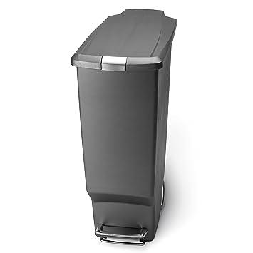 Simplehuman Slim Plastic Step Trash Can, Grey Plastic, 40 L / 10.6 Gal