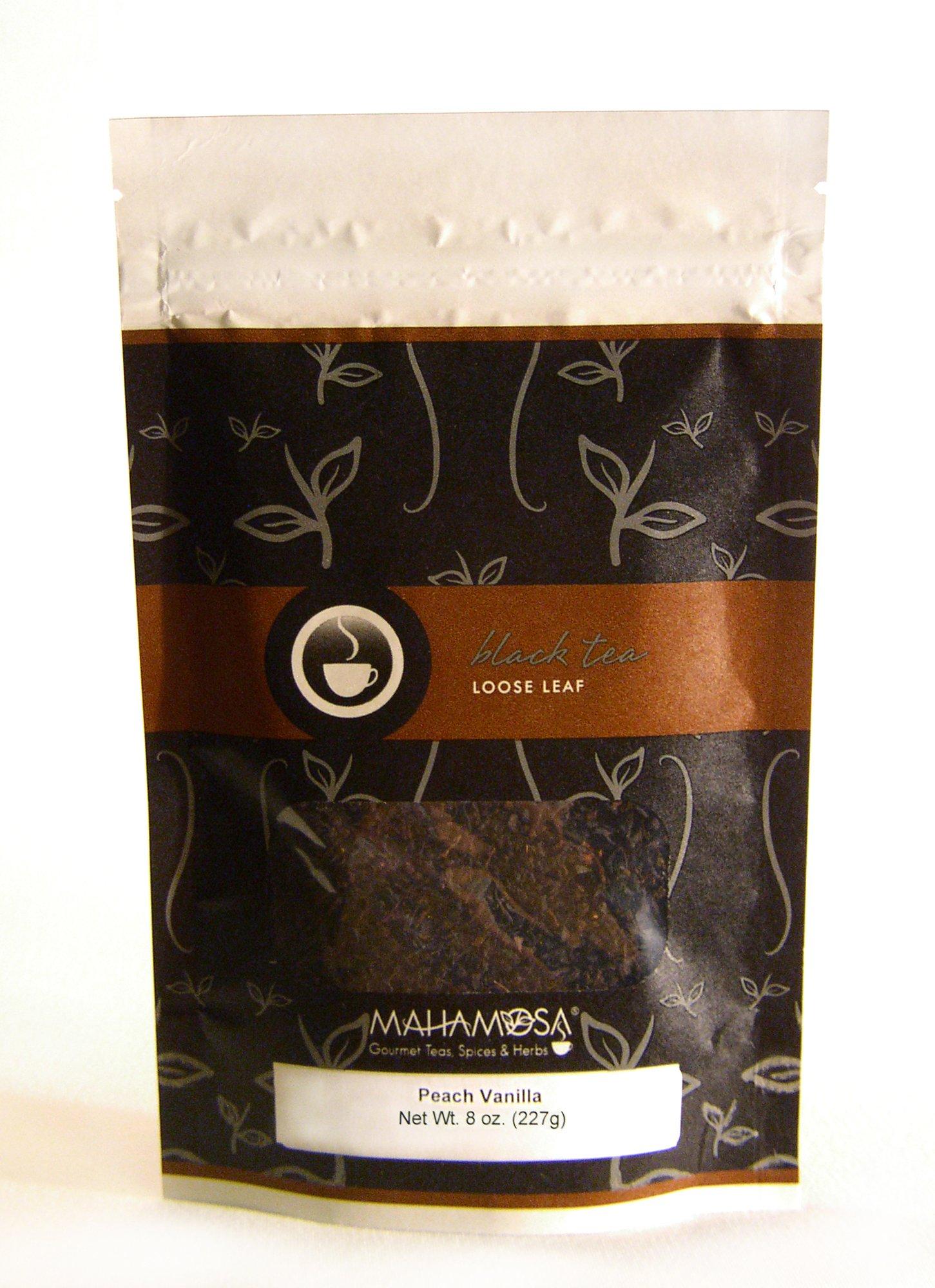 Mahamosa Flavored Black Tea Blend and Tea Infuser Set: 8 oz Peach Vanilla Black Tea, 1 Stainless Steel Tea Ball Infuser (Bundle- 2 items)(Tea Ingredients: Black tea, peach pieces, and vanilla beans with peach and vanilla flavor)