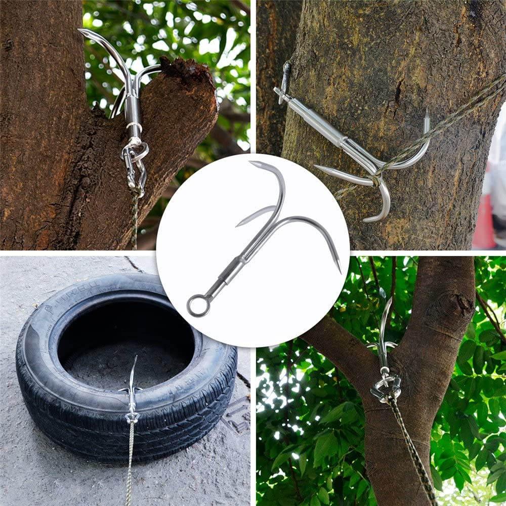 Outdoor Climbing Mountaineering Hooks Stainless Steel Claw Tool Survival W3R8