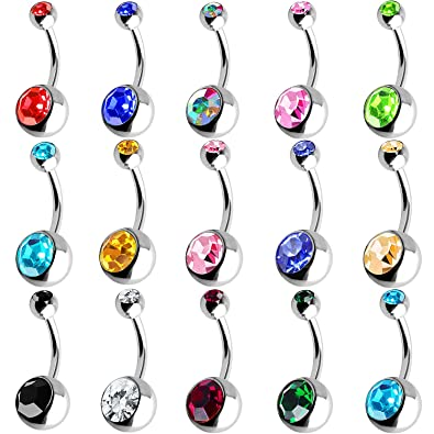 Outee 15 Pcs Belly Bars Button Belly Rings Navel Ring Belly Piercing Set Piercing Body Jewelry