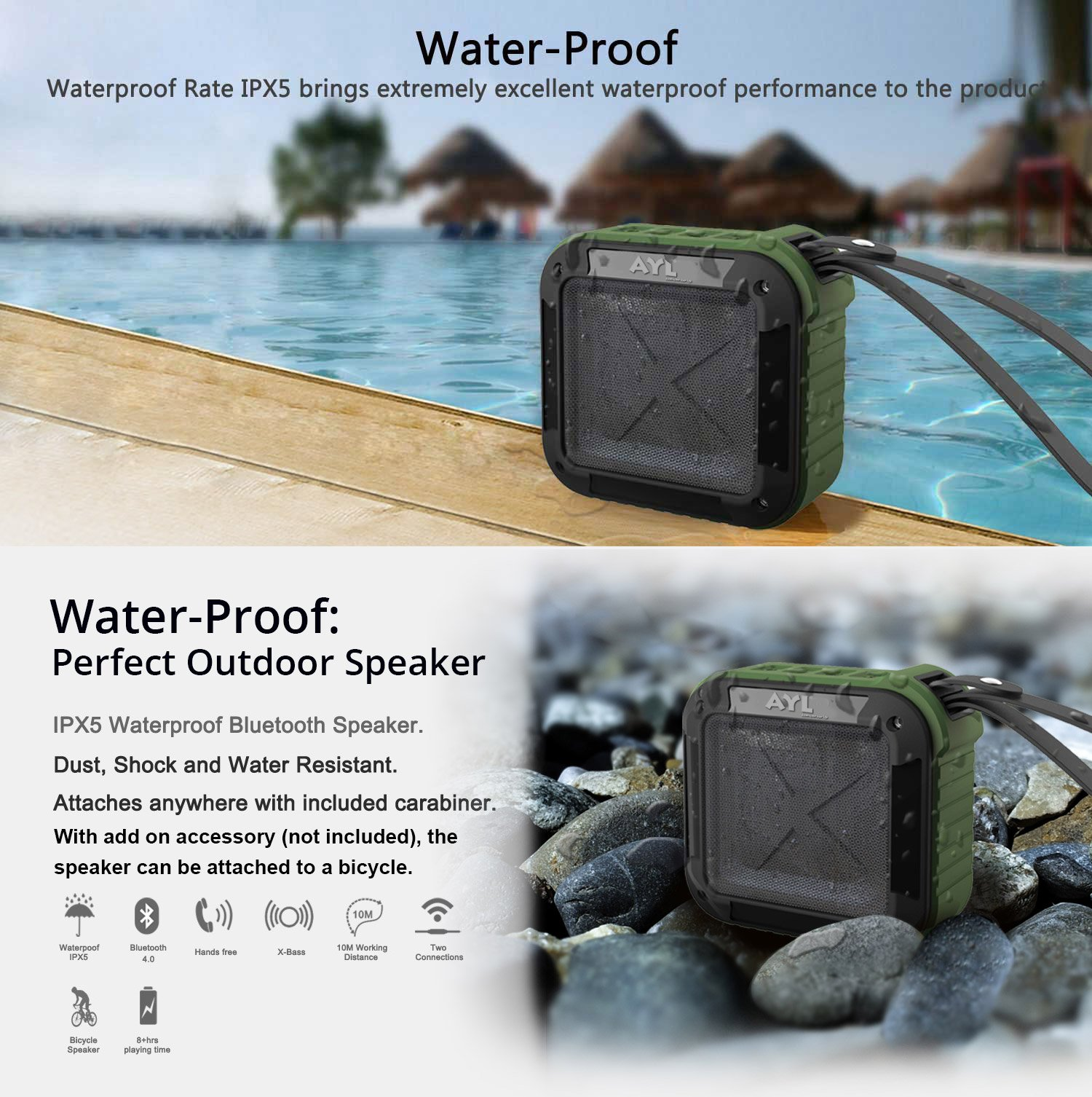 Portable Outdoor and Shower Bluetooth 4.1 Speaker by AYL SoundFit, Water Resistant, Wireless with 10 Hour Rechargeable Battery Life, Powerful Audio Driver, Pairs with All Bluetooth Device (Ocean Blue) by AYL (Image #6)