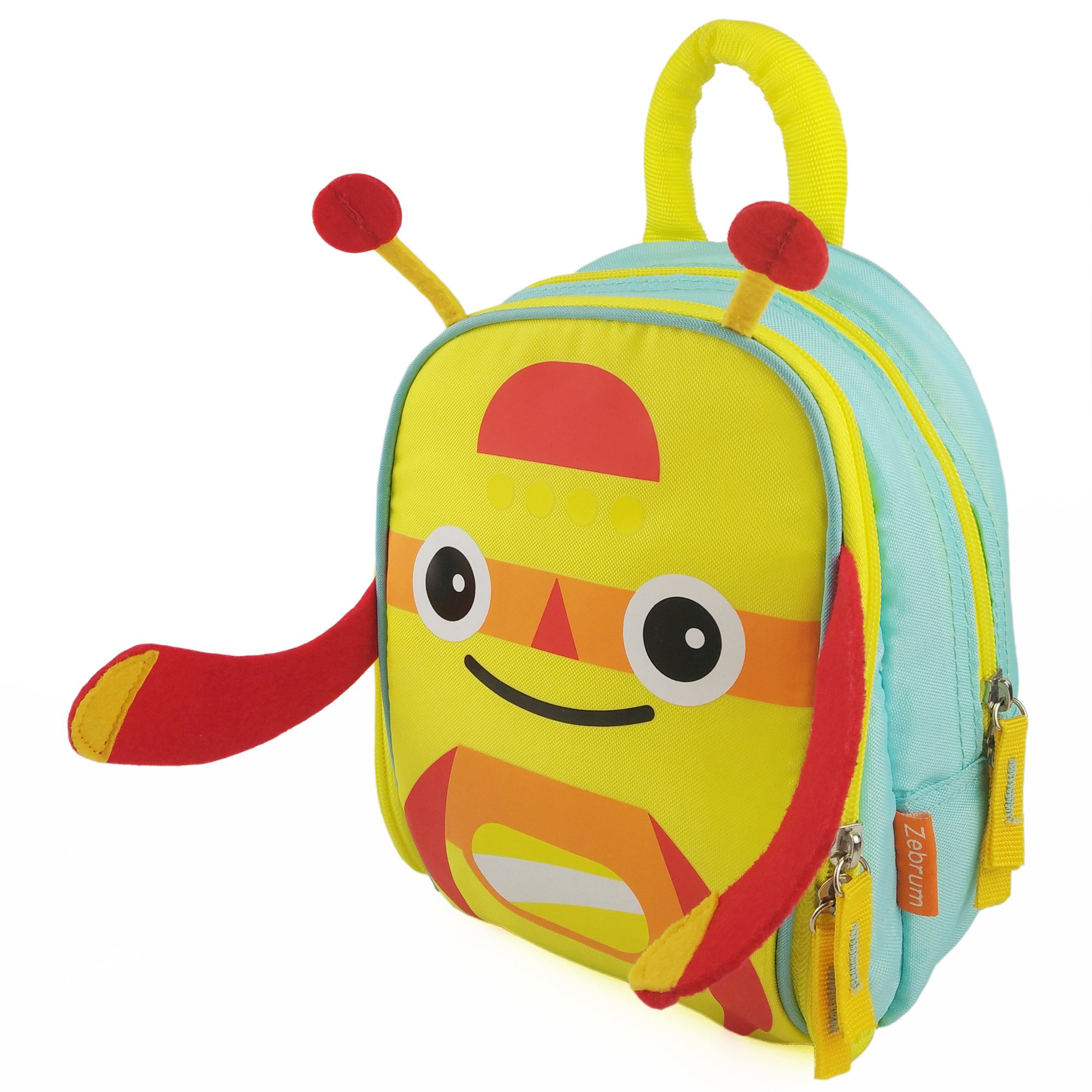 Zebrum Insulated Kids Lunch Box for School Boys &Girls with Dual Compartments, Colorful Spring/Summer Kindergarten Kids Lunch Bag, Cute Cartoon Monster by Zebrum (Yellow)