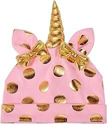 fdcc9d8120f Lux Accessories Unicorn Polka Pink Unicorn Warm Bow Hats Infant Kid Beanie  Hat