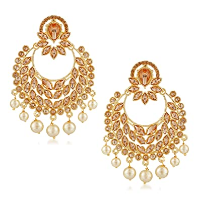 e0c648aa022 Buy Rich Lady Gold Plated lct Kundan Studded Chandbali Earrings for Girls  and Women Online at Low Prices in India