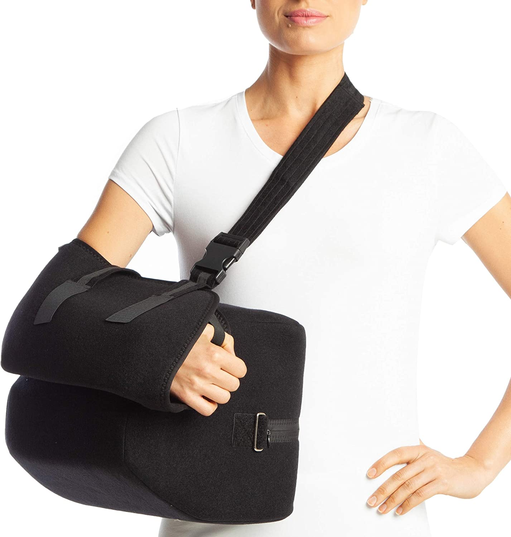 armoline acolchada para brazo (Deluxe acolchado cabestrillo para brazo 45–60grados transpirable para adultos negro roto brazo de compresión para roto inmovilizador de hombro muñeca